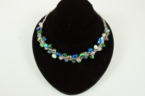 blue,green, silver crochet necklace